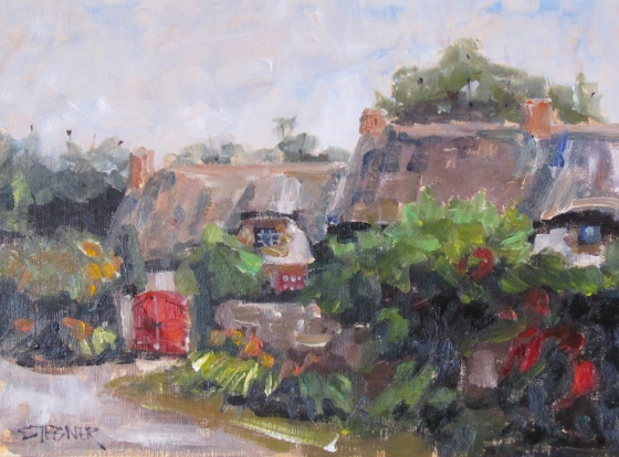 Red Gate, Brittany 9x12 oil on panel. $400, unframed.
