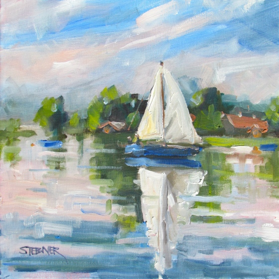 Happy Sails. 12x12 oil on linen. Available.