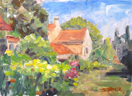 Sunny Days in the Perigord Stebner 6x8 oil on panel