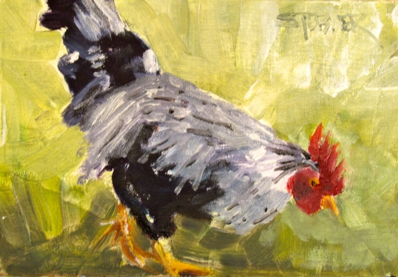 Just Pecking Around, 5x7 Stebner oil on linen panel