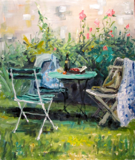 Summer Pleasures, Normandy. oil on linen 20x24
