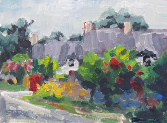 Red Gate, 6x8 Stebner oil on panel, $200, unframed.