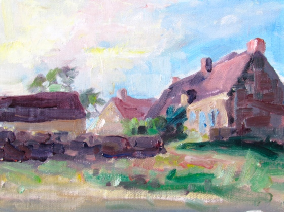 Twilight in Mougny. 6x8 plein air pochade. Stebner