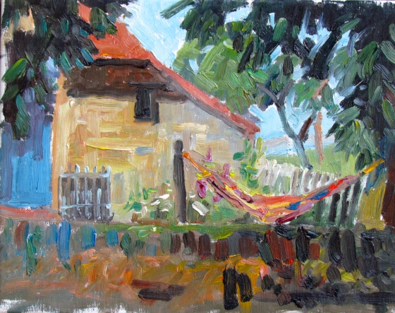 Lazy Bones, Mougny, France. Plein air 11x14 oil on linen. Stebner