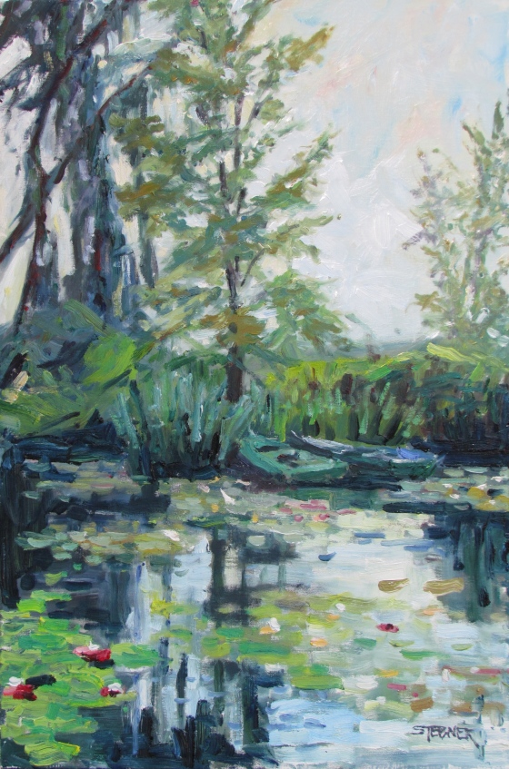 Boats and Water Lilies, Giverny. 20x30 oil on linen.