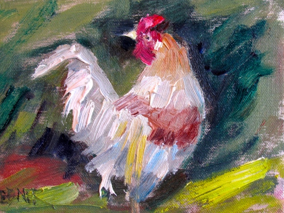 French hen, 4x6 linen panel