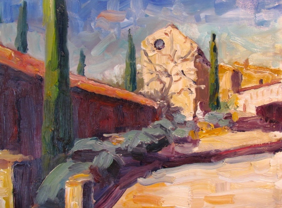 Provence: Chateau Grounds. 11x14 oil on linen