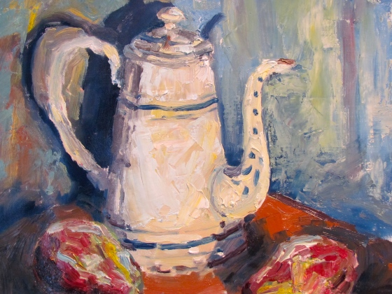 French Coffee Pot and Pears. 11x14 oil on linen