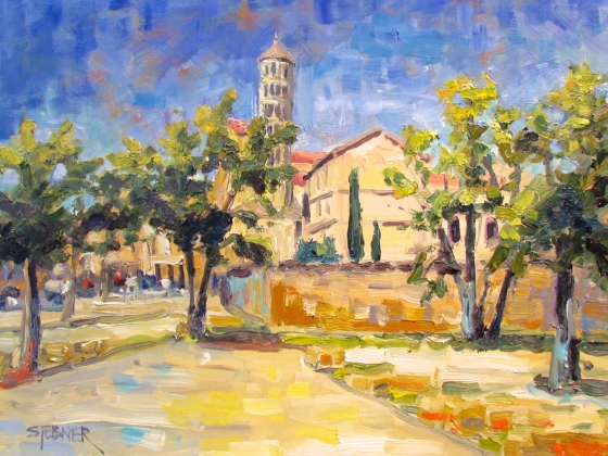 Blue Skies over Uzes. 11x14 oil on linen.