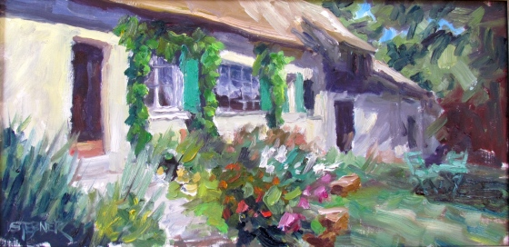 Morning in Normandy, Stebner 10x20 oil on linen