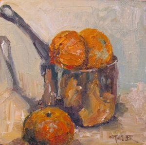 L'amour des trois Oranges, 8x8 oil on linen panel, Stebner