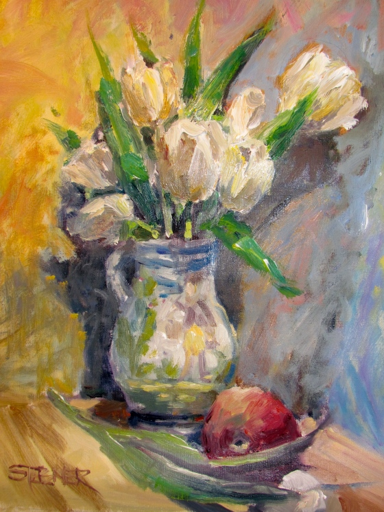 White Tulips, 11x14, oil on Linen, Stebner