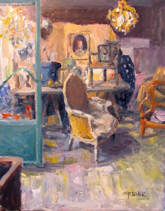 Faded Glory, Brocante, Isle-sur-la-Sorgue. 16x20 oil on linen, Stebner
