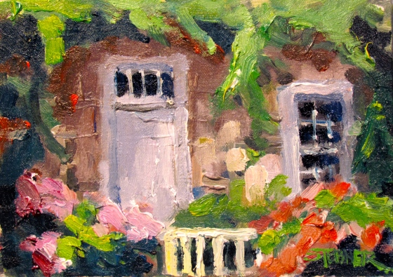 """Sconset Cottage, Nantucket"". 5x7 Stebner oil on linen panel"