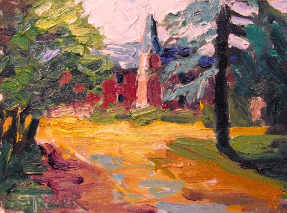 Gloaming Chateau, Brittany. Stebner 6x8 oil on linen panel.