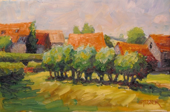 Tile Roofs and Hedgerows, Burgundy. Stebner 11x14 oil on stretched linen.